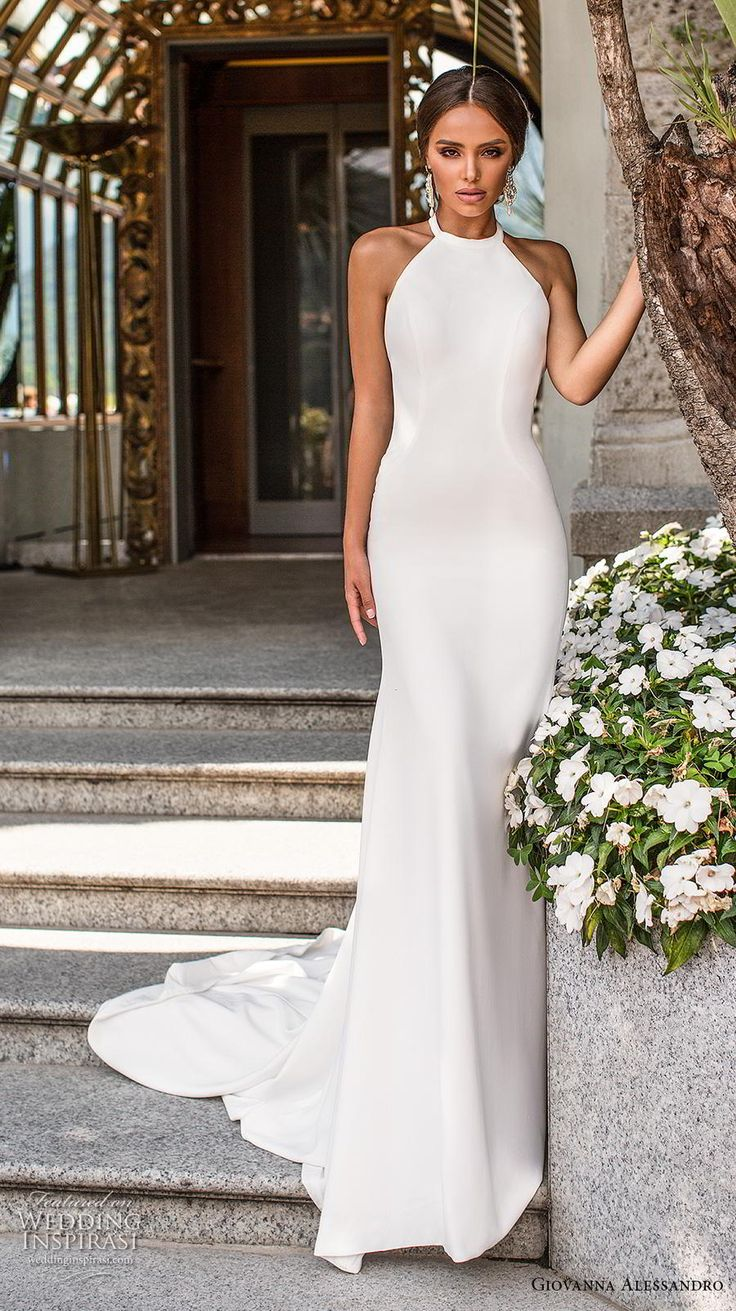 Weddinginspirasi.com featuring - giovanna alessandro 2019 bridal sleeveless halter neck simple minimalist elegant sheath wedding dress backless chapel train (6) mv -- Giovanna Alessandro 2019 Wedding Dresses #wedding #weddings #bridal #weddingdress #weddingdresses #bride #fashion ~