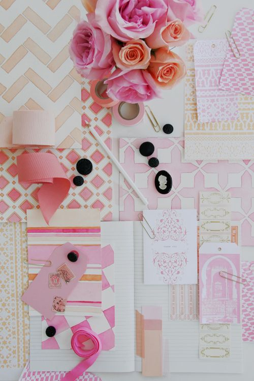 Pinks and Gold: Colour, Color Inspiration, Mood Boards, Inspiration Boards, Black White, Pink, Paper Design, Moodboard, Peaches