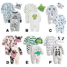 3pcs/set 0-24m sevimli hayvan yenidoğan giysileri bebek tulum + şapka pamuk bebek kız giysi seti tulum roupas pijama setleri(China (Mainland))