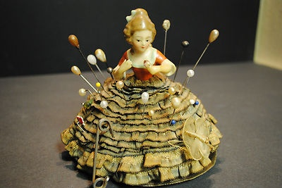 Antique Porcelain German Half Doll Pin Cushion Origi Ribbon Skirt 22 Hat Pins   eBay