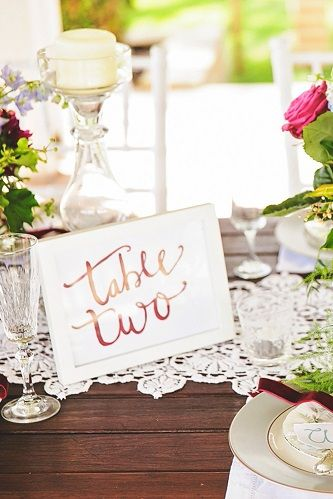 White Framed Scripted Table Numbers - Lovebird Weddings, Noosa Australia