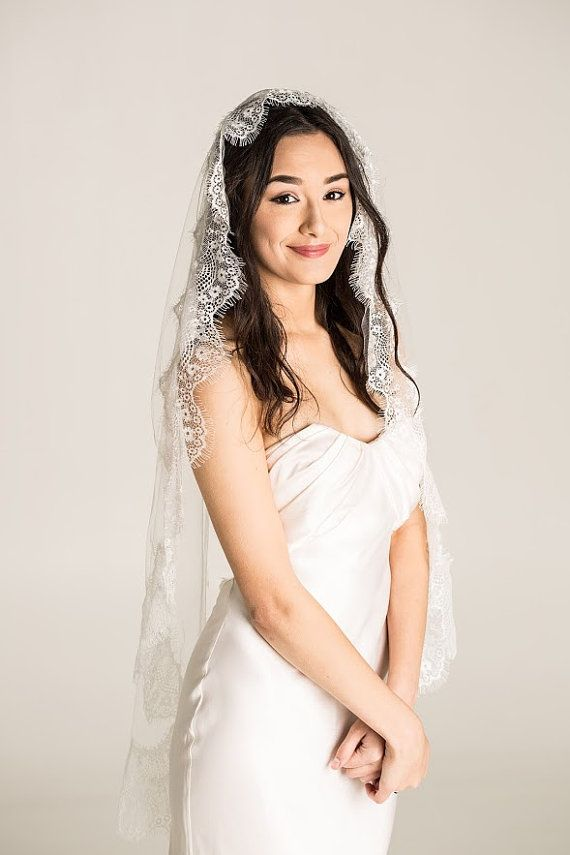 lace wedding veil white ivory mantilla veil by Juniperandgrace