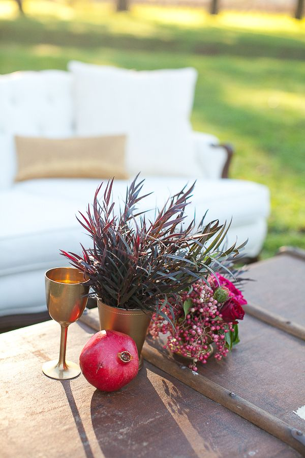 Gold and Pomegranate Wedding Decor Ideas  | www.partyista.com