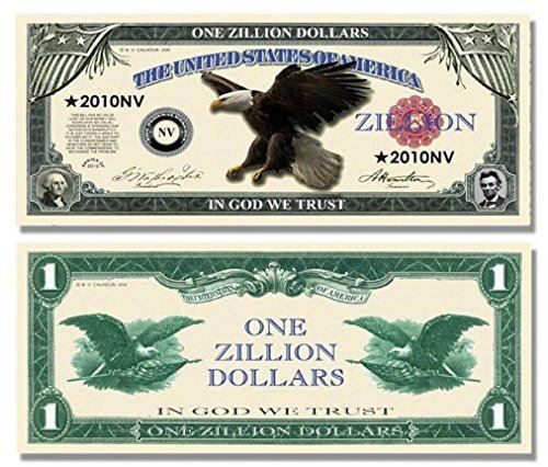 "Details about Zillion Dollar Bill with Bonus ""Thanks a Million"" Gift Card Set"