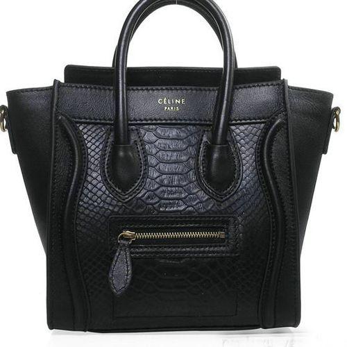 Celine Luggage Nano Shopper Snake Leather Bag (Black)