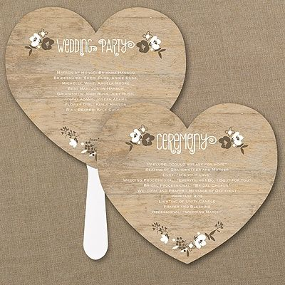 """Wood Grain Floral Heart Program Fan 40% Off  