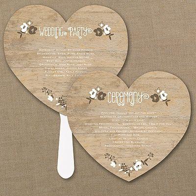 Wood Grain Floral Heart Program Fan - wedding program fans - wedding program ideas