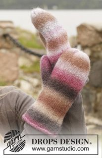 "Felted DROPS mittens in ""Big Delight"". ~ DROPS Design"