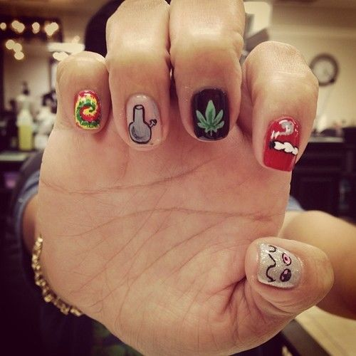 She's about that life. #HMJ #weed #marijuana #nailart