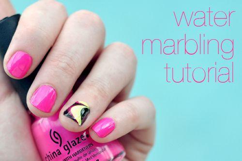 tutorial: Nailss Makeup, Marbles Tutorials, Nails Art, Nails Fashion, Nails Design, Nails Polish Tutorials, Water Marbling, Water Marbles Nails, Nails Tutorials