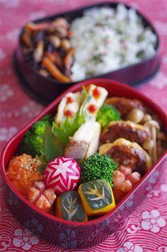 Healthy Japanese Bento Box Lunch with Tofu Hamburger Teriyaki and Veggies