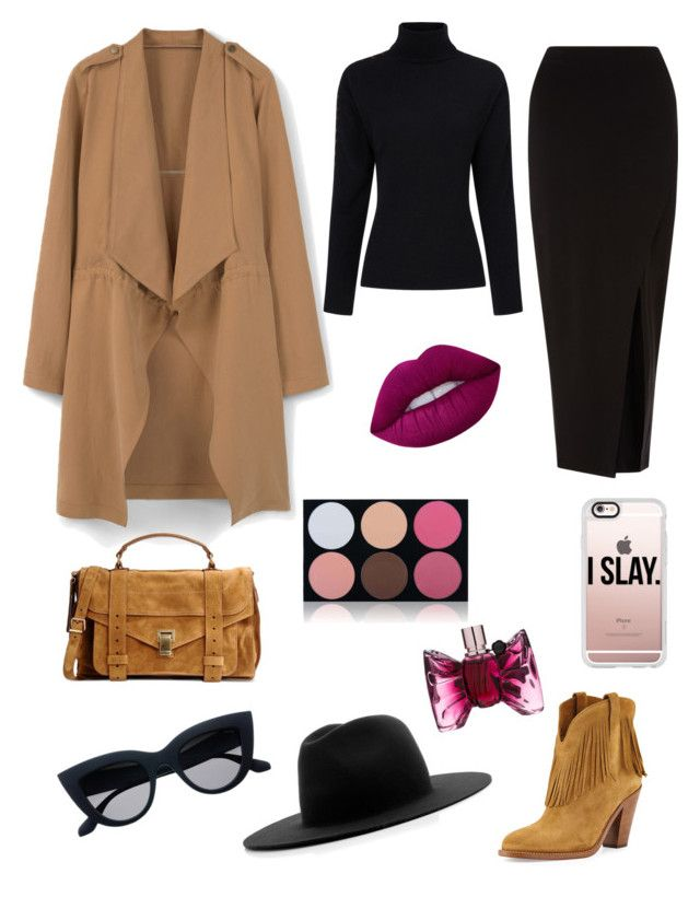 """""""Trench coating"""" by saarahwilliams on Polyvore featuring MANGO, Preen, Miss Selfridge, Yves Saint Laurent, Proenza Schouler, Études, Casetify, Lime Crime, Viktor & Rolf and Shany"""