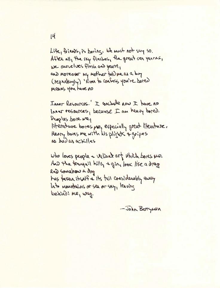 Dream Song 14, John Berryman