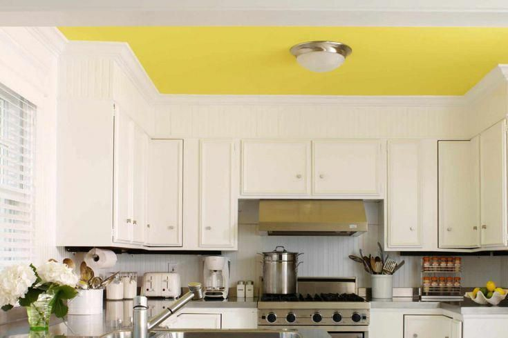 Kitchen with a Lemon Yellow Painted Ceiling #lemonyellow # ...
