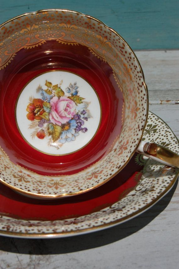 AYNSLEY Bone China Tea Cup and Saucer