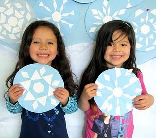 pattern block snowflakes on circles
