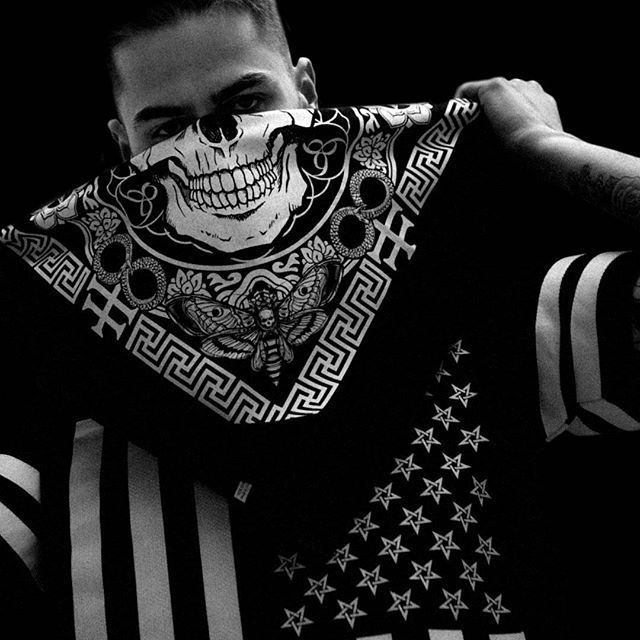 """Death Mandala"" Bandana & ""Americunt"" Striped Mesh Tee Available at www.crmc-clothing.co.uk 