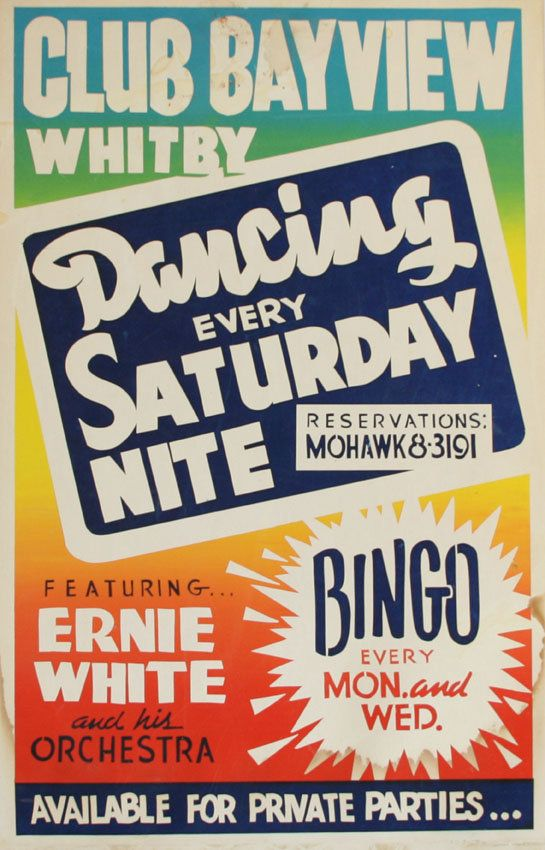 Club Bayview, 1959. Created by Club Bayview owner. Poster for Club Bayview, including mention of dances every Saturday.