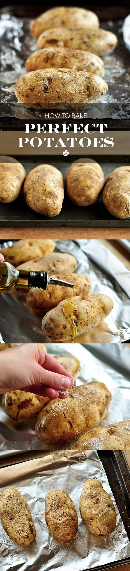 How to Bake a Potato In the Oven. This is one of those things you hardly need recipes for - the kind of recipe that is easy to memorize for a quick (vegetarian) weeknight dinner side dish! Follow these step-by-step instructions for EASY and SIMPLE perfect baked potatoes every time.