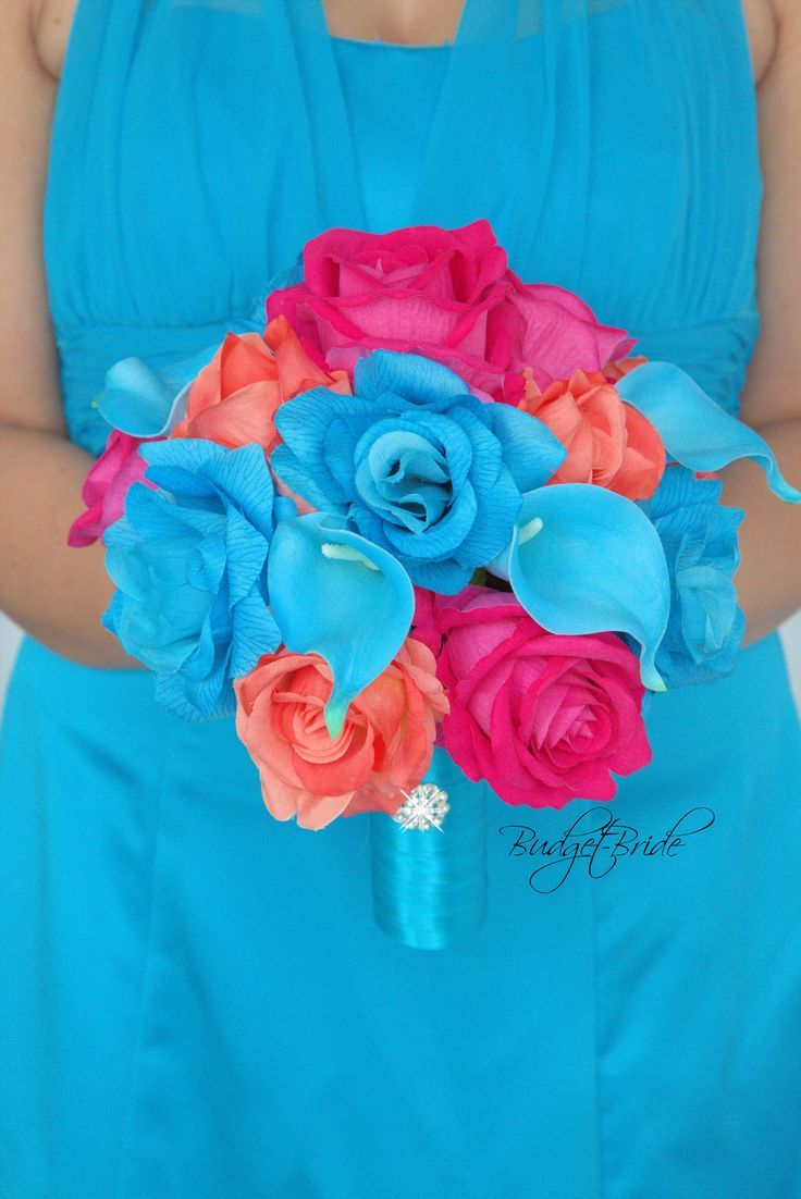 Davids Bridal Begonia Wedding Bouquet with Malibu roses, Malibu calla lilies, Begonia and Coral reef colored roses.  Perfect for a Beach Theme Wedding