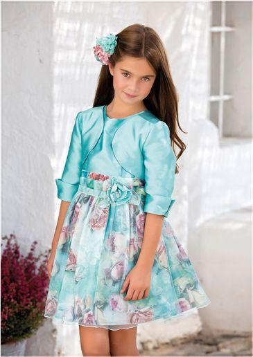 Vestido 22700, color 0096 Verde agua- Talla: 4, 6, 8, 10, 12, 14, 16, 18 Colección Amaya