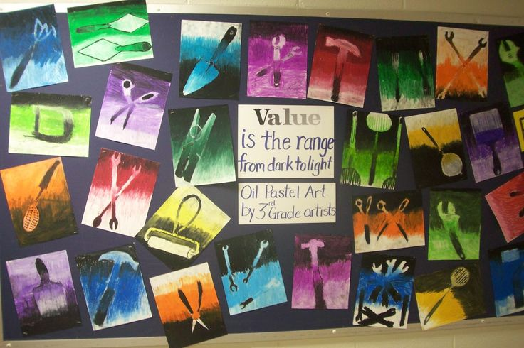 monochromatic value studies with tools -- can you believe these are 3rd grade??