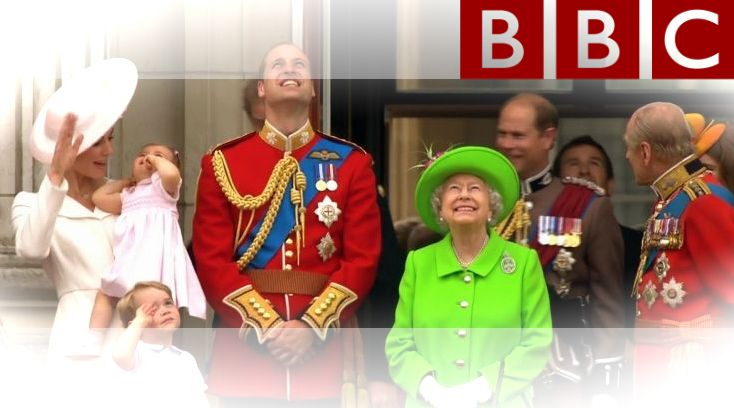 Dressed in a vivid lime green coat and matching hat, the Queen was escorted down the Mall in a horse-drawn carriage to the ceremony at Horse Guards Parade. After the parade of more than 1,600 soldiers and 300 horses, she appeared on the balcony of Buckingham Palace with members of her family, including Princess Charlotte, for an RAF flypast.