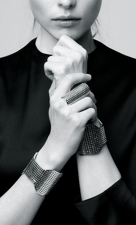 Perforated Jewellery - modern statement bangles & elongated ring // Jennifer Fisher