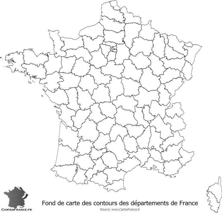 Fond de carte des contours des départements de France