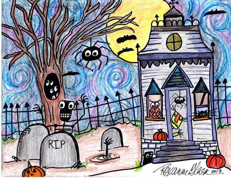 How to Draw a Spooky House - Tick Tock Tech I made some YouTube Videos for students to use to add details to their spooky drawings. #whirlidurb #artsmart
