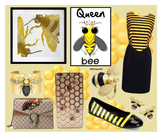 Queen Bee! by whirlypath on Polyvore featuring Moschino, Funtasma, Gucci, BaubleBar, Natures Jewelry, Dermond Peterson and Queen Bee