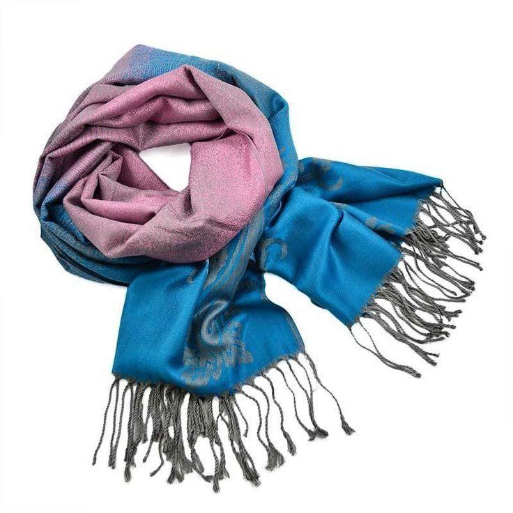 Šála teplá 69cz010-23.32 - růžovomodrá paisley - Bijoux Me!
