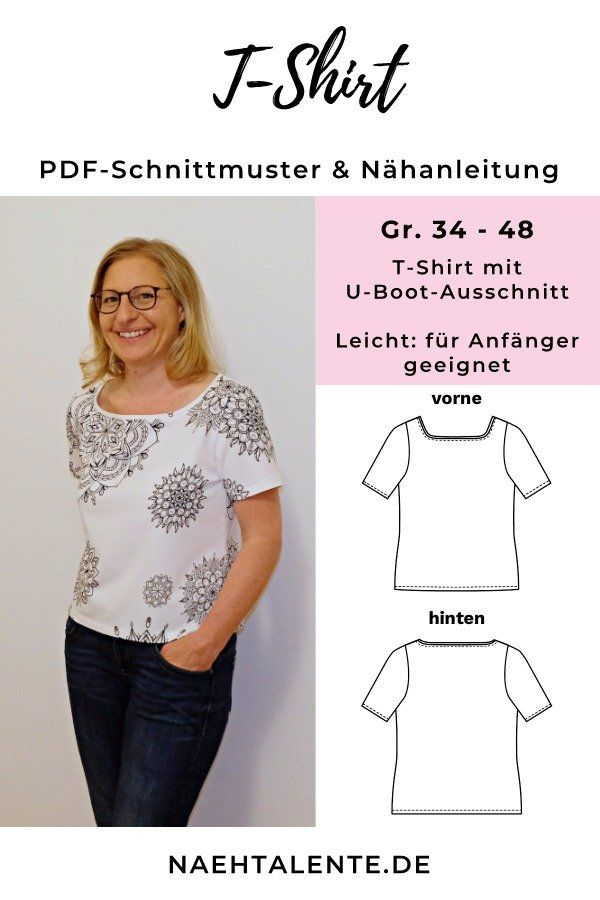 Kostenloses T-Shirt Schnittmuster für Damen mit Nähanleitung | Pinterest