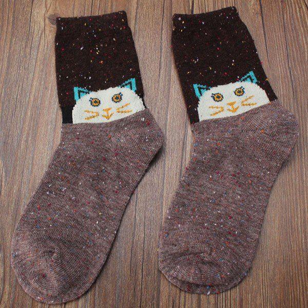 Women Wool Warm Socks Deer Cat Elephant Cartoon Animal Pattern Stockings