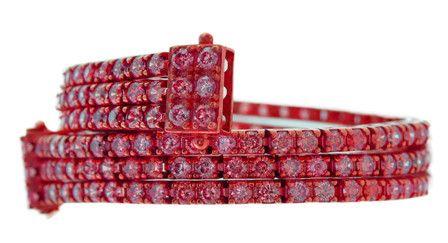 bracciale triplo tennis rosso
