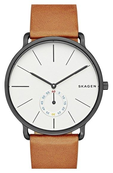 Free shipping and returns on Skagen 'Hagen' Leather Strap Watch, 40mm at Nordstrom.com. Exemplifying the innovative detail-driven construction that's come to define Skagen watches, the Hagen model is molded almost seamlessly using a cutting-edge monocoque technique. The relaxed, refined result mimics the horizon's cleanly arched lines. A subseconds eye details the classic bar-indexed dial and a slender leather strap nicely underscores the minimalist design.