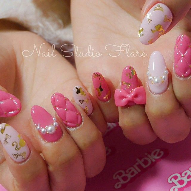 やっぱり Barbie 可愛すぎる♡♡♡ nail nails nailart japan Osaka Shinsaibashi  handpaint 3Dアート 3Dart キルティングネイル quilting リボン