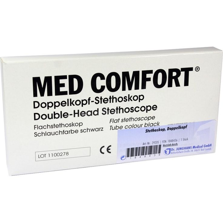 STETHOSKOP Doppelkopf:   Packungsinhalt: 1 St PZN: 01848436 Hersteller: Dr. Junghans Medical GmbH Preis: 13,06 EUR inkl. 19 %…