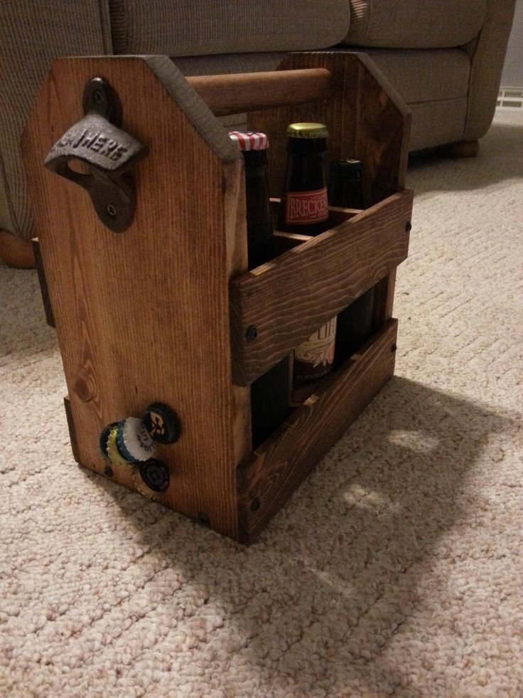 My latest etsy purchase. A six pack holder with a bottle opener and a hidden magnet to catch the caps. - Imgur