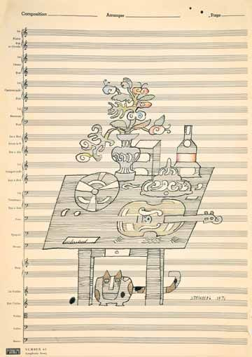 "Untitled, 1971.  Ink on music paper, 14 1/4 x 20 1/8"".  The Saul Steinberg Foundation."
