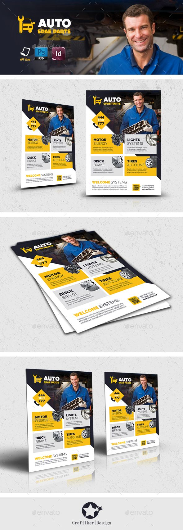 Auto Spare Part Flyer Templates PSD #design Download: http://graphicriver.net/item/auto-spare-part-flyer-templates/13106098?ref=ksioks