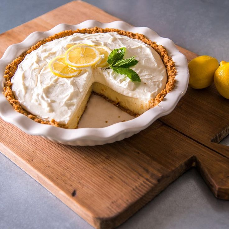 Joanna Gaines' Lemon Pie - This pie is as tasty as it is simple. I love the happy color and how pretty it looks in a classic white pie dish. It's one of those desserts that only takes a few minutes to put together so it's a quick after dinner treat.