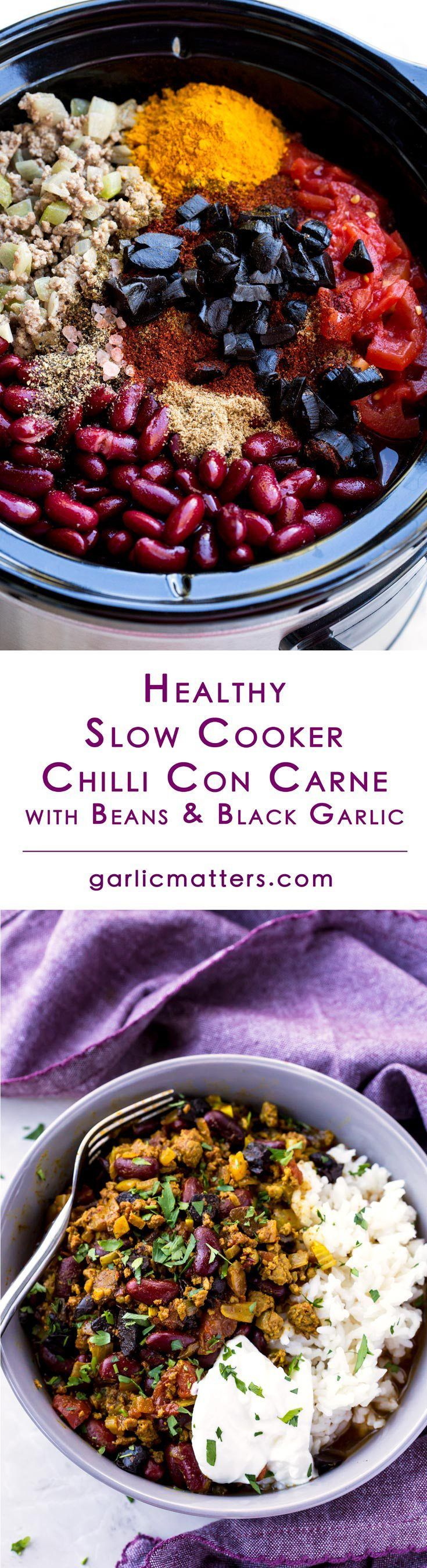 Healthy Chilli Con Carne With Beans And Black Garlic is the best slow-cooker beef chili recipe I've ever had. It is super easy and goes great with accompaniments like boiled rice or quinoa, plus sour cream, scallions or cheddar.