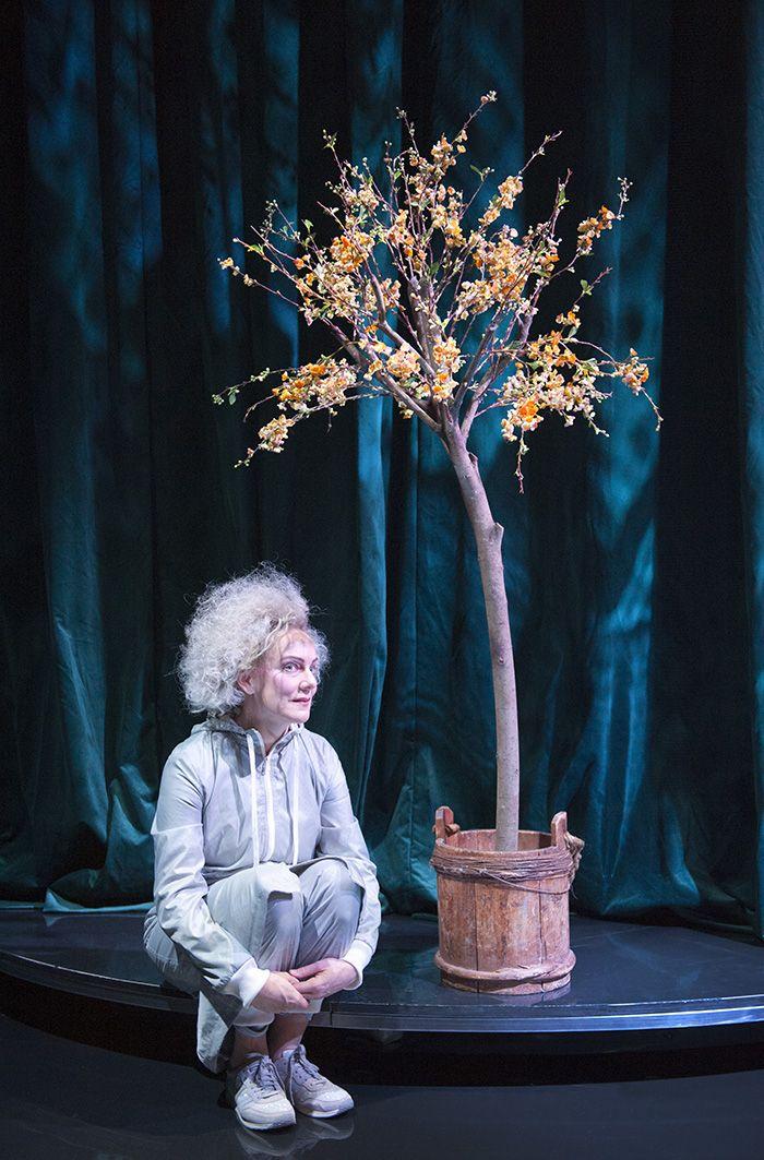 """Skådespelaren Kajsa Linderholm i """"Drömspelet"""". Scenografi och kostymdesign Lotta Nilsson. #auguststrindberg #actor #tree #flowers"""