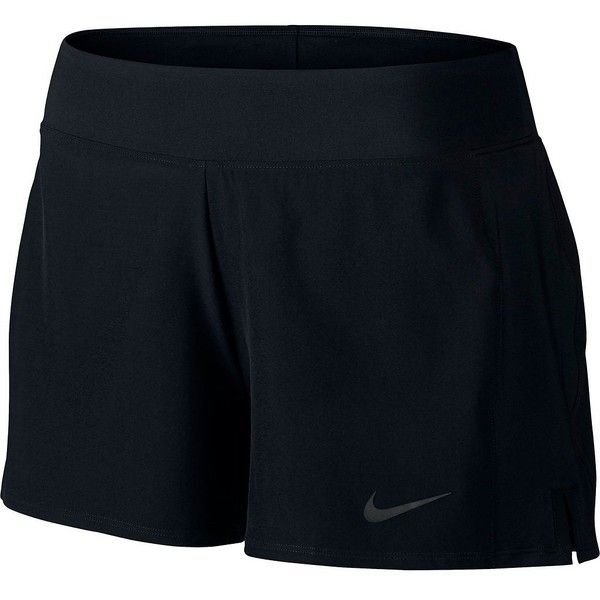 Women's Nike Baseline Tennis Shorts ($45) ❤ liked on Polyvore featuring activewear, activewear shorts, black, nike, nike sportswear and nike activewear