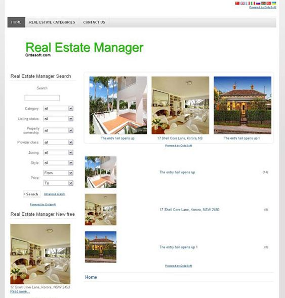This real estate Joomla template offers a clean design, map, search, and scroller modules, and more.