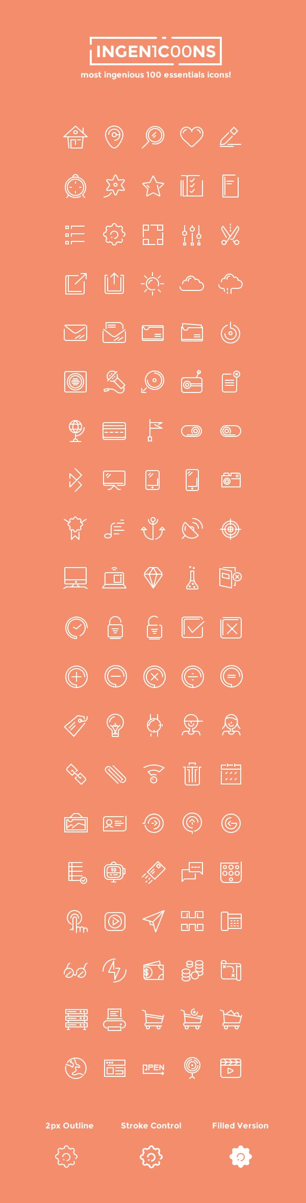 I'm glad to share with you this fantastic collection of 100 essential icons designed in an ingenious manner...