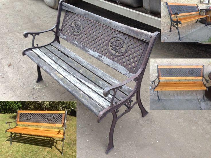 Opravená lavička - nátěr: kovářská barva + lazura Xyladecor Borovice / Corrected Bench - Paint: Blacksmith Colors + Stain Xyladecor Pine