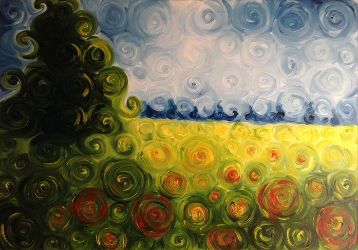 Dipinti ad olio: Campo con fiori