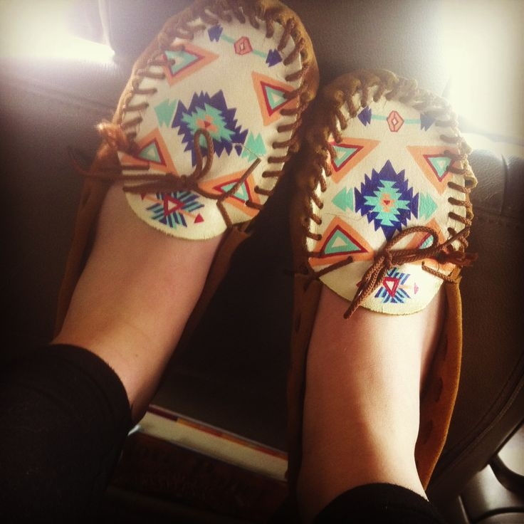 Hand painted moccasins. I go through a pair of moccasins a year. It's like I'm meant to be barefoot or something.